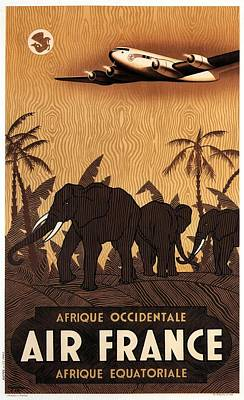 Mixed Media - Afrique Occidentale - Air France - Afrique Equatoriale - Retro Travel Poster - Vintage Poster by Studio Grafiikka