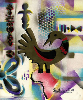 Museum Mixed Media Mixed Media - Afro - Aesthetic - K  - Sankofa Bird  And Adinkra Symbol For Abundance by Everett Spruill