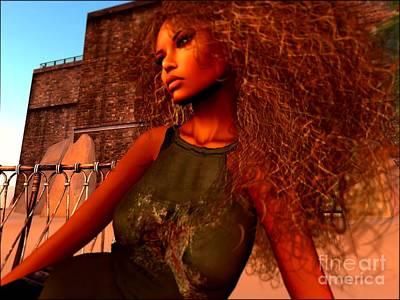 Secondlife Wall Art - Digital Art - Afro Beauty  by Leslie Moore