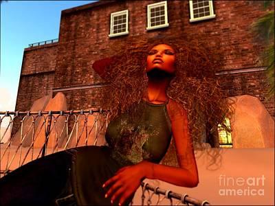 Secondlife Wall Art - Digital Art - Afro Beauty Wallpaper by Leslie Moore