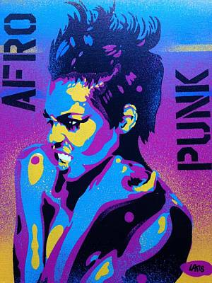 Stencil Art Painting - Afro Punk 1 by Leon Keay