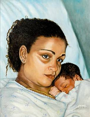Painting - After Birth Jacina And Javon by Marlene Book