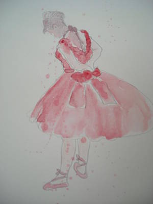 Rehearsing Painting - After Degas In Watercolour 'ballerina Rehearsing' by Maro Kirby