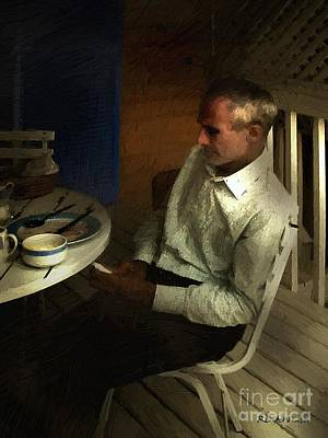 Contemplative Painting - After Dinner by RC DeWinter