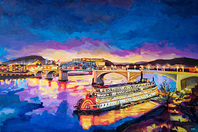 Chattanooga Tennessee Photograph - After Dusk Painting by Steven Llorca