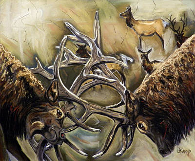 Bull Elk Fighting  Original