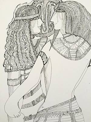 Drawing - After Egyptians by Rosalinde Reece