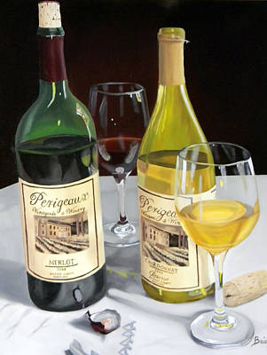 Oil . White Wine Painting - After Five by Brien Cole