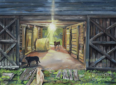 Dog At Door Painting - After Hours In Pa's Barn - Barn Lights - Labs by Jan Dappen
