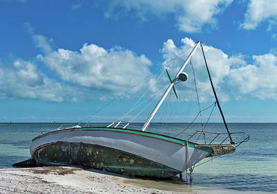 Photograph - After Irma In Key West - The Boat by Bob Slitzan