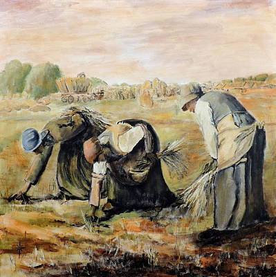 Painting - after Jean-Francois Millet  The Gleaners by Jodie Marie Anne Richardson Traugott          aka jm-ART