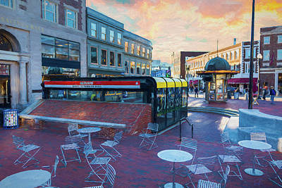 Painting - After Lunch At Harvard Square by Thomas Logan