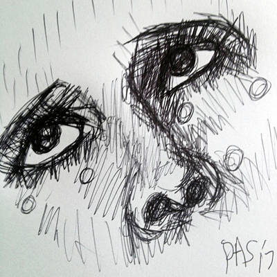 America Drawing - After Man Ray's Tears Sketch  by Paul Sutcliffe
