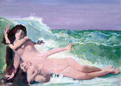 Painting - After Paul Albert Laurens Catching Waves by Paul Thompson