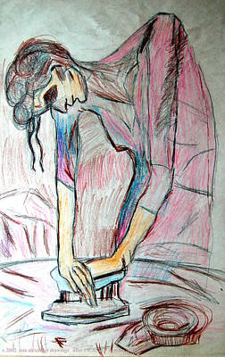 Drawing - after Picasso  Woman Ironing by Mia Alexander