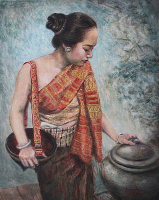 Laos Painting - After Rain by Sompaseuth Chounlamany