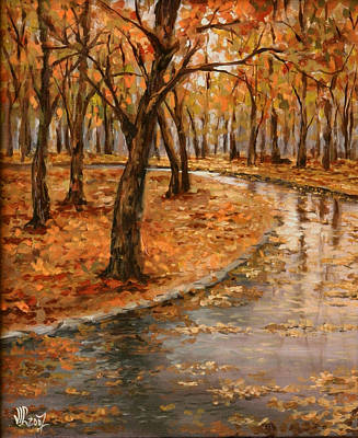 Painting - After Rain,walk In The Central Park by Vali Irina Ciobanu
