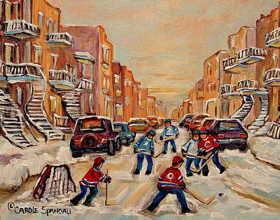 Carole Spandau Hockey Art Painting - After School Hockey Game by Carole Spandau