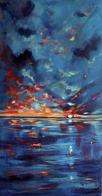 Orange Sun Painting - After Storm by Kovacs Anna Brigitta
