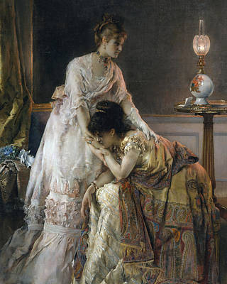 Evening Dress Painting - After The Ball by Alfred Emile Stevens