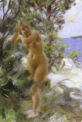 Zorn Painting - After The Bath, 1895 by Anders Leonard Zorn