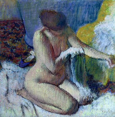 Woman Painting - After The Bath by Edgar Degas