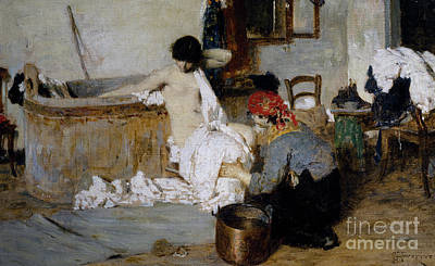 Nineteenth Century Painting - After The Bath by Giacomo Favretto