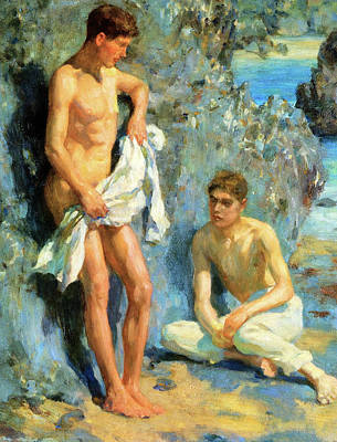 Painting - After The Bath by Henry Scott Tuke