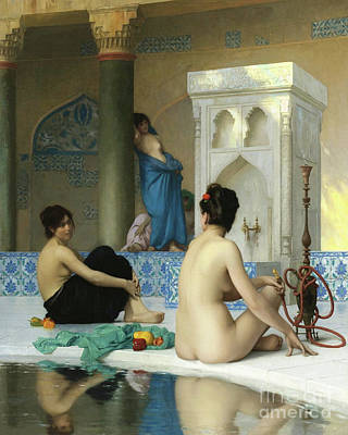 Jessica Alba Wall Art - Painting - After The Bath, Jean Leon Gerome by Jean Leon Gerome