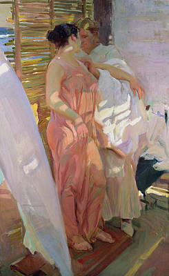 Dressing Painting - After The Bath by Joaquin Sorolla y Bastida