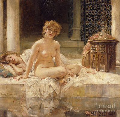 Concubine. Harem Girl Painting - After The Bath by Leon Francois Comerre
