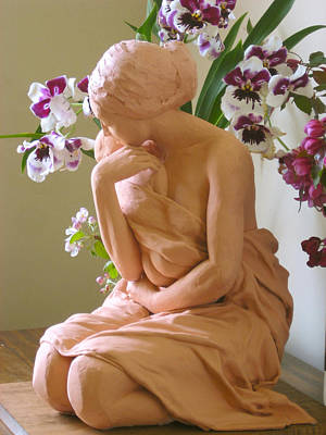 Sculpture - After The Bath With Orchids by Deborah Dendler