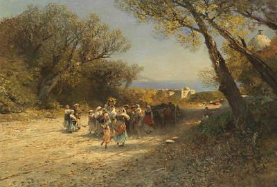 German Art Painting - After The Field Work by Albert Flamm
