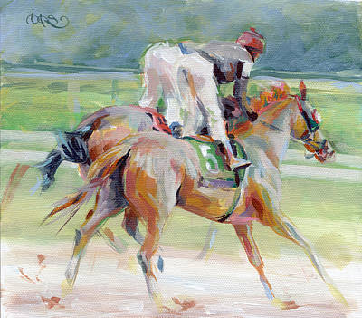 Bay Thoroughbred Horse Painting - After The Finish by Kimberly Santini