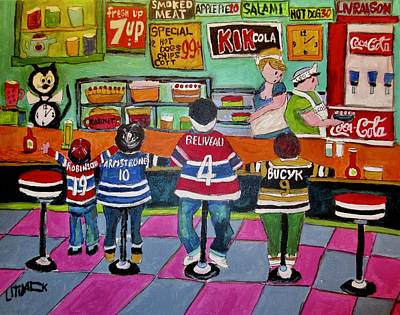Painting - After The Game At Leo's St. Viateur by Michael Litvack