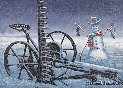 After The Harvest Snowman Art Print by John Stephens