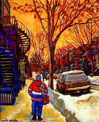 After The Hockey Game A Winter Walk At Sundown Montreal City Scene Painting  By Carole Spandau Art Print by Carole Spandau