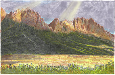 Painting - After The Monsoon Organ Mountains by Jack Pumphrey