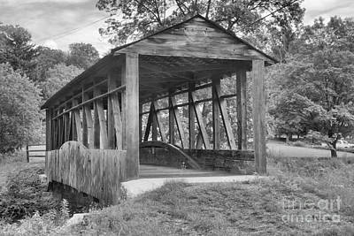 Photograph - After The Rain At Cuppett's Covered Bridge Black And White by Adam Jewell