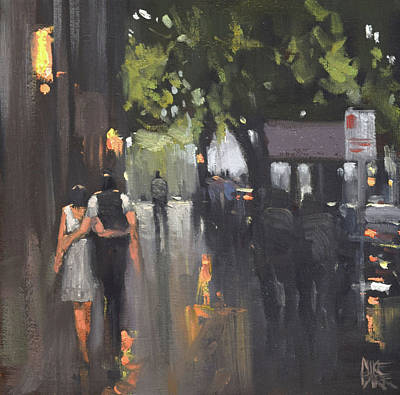 Wall Art - Painting - After The Rain - Collins St by Mike Barr
