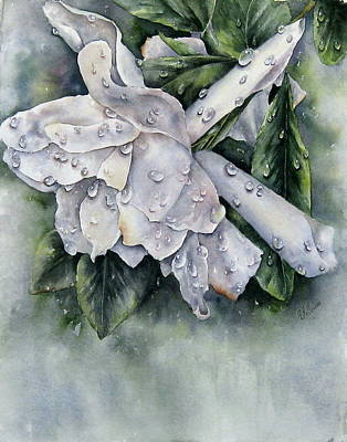 Painting - After The Rain-gardenia by Mary McCullah