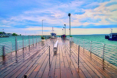 Photograph - After The Rain Mackinac Island Michigan Shuttle Dock by Thomas Woolworth