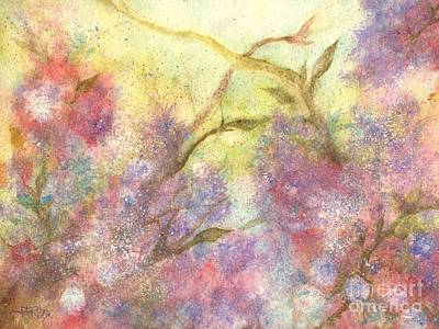 Rose Branch Painting - After The Rain - May Flowers by Janine Riley