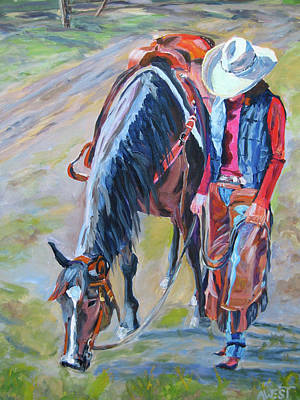 Horse Painting - After The Ride by Anne West