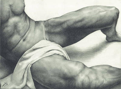 Nudes Drawing - After The Steam by Maciel Cantelmo