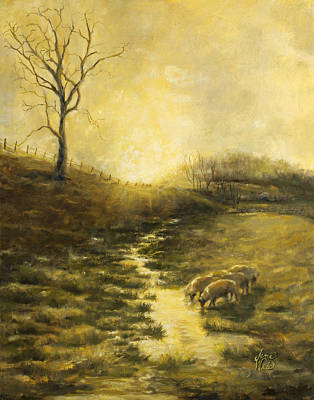 Mystical Landscape Painting - After The Storm by Jane Weis