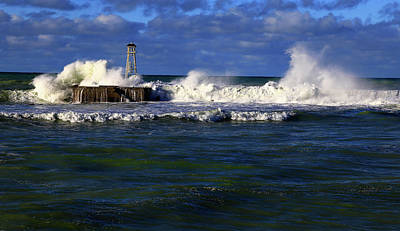 Photograph - After The Storm The Breakwater Is Pounded By Angry Seas. by Nareeta Martin