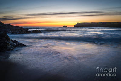 After The Sunset At Polzeath Cornwall Art Print by Amanda Elwell