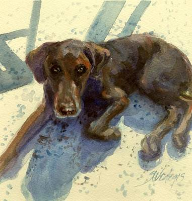 Chocolate Labrador Retriever Painting - After The Swimming Event by Sheila Wedegis