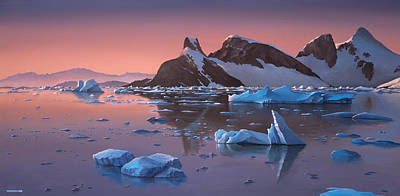 Painting - Afterglow Lemarie Channel Antarctica by Cliff Wassmann